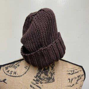 Echo Brown Chunky Knit Fold Over Beanie Soft